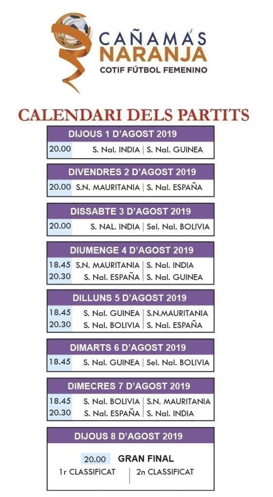 calendario partidos cotif 2019