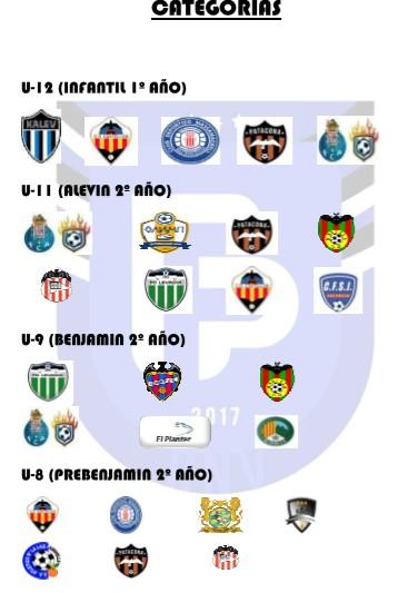 equipos y categorias que participan en torneo de fútbol
